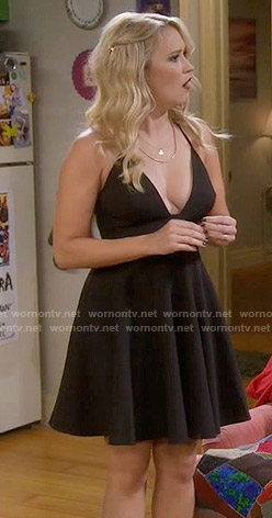 Gabi's black plunge neck dress on Young and Hungry