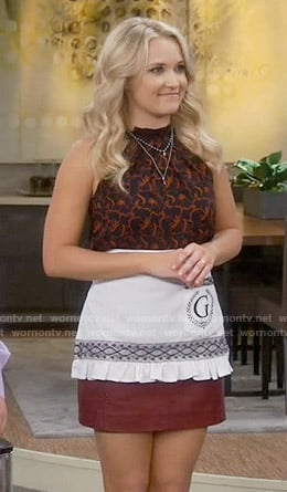 Gabi's red and black printed halter top on Young and Hungry
