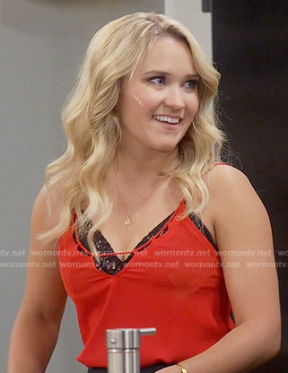 Gabi's red  cutout cami on Young and Hungry