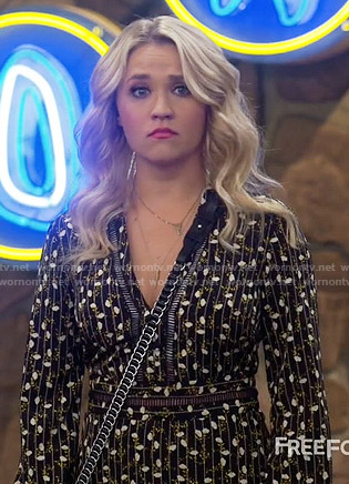Gabi's black floral and stripe print long sleeve dress on Young and Hungry