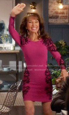 Genevieve's pink long sleeve dress with black lace on Devious Maids