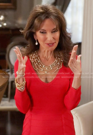 Genevieve's red bandage dress on Devious Maids