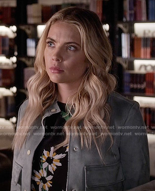 Hanna's black floral top and suede jacket on Pretty Little Liars