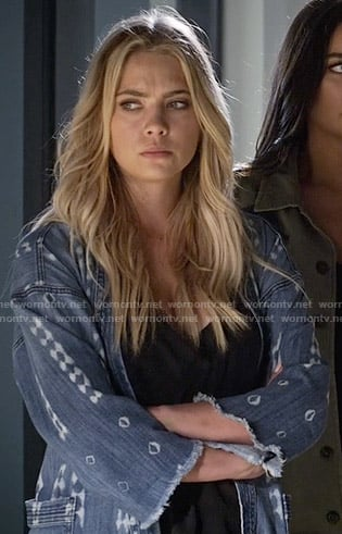 Hanna's printed denim wrap jacket on Pretty Little Liars