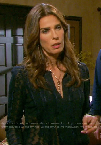 Hope's sheer navy embroidered blouse on Days of our Lives