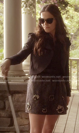 Jenna's embellished skirt and black cropped jacket on Pretty Little Liars