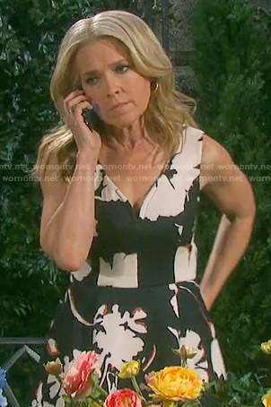 Jennifer's black and white floral dress on Days of our Lives
