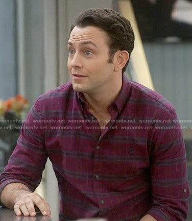 Josh's red plaid shirt on Young and Hungry