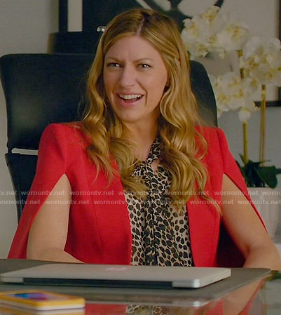 Josslyn's red cape and leopard print blouse on Mistresses
