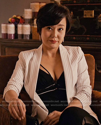 Karen's black strappy top and white striped blazer on Mistresses
