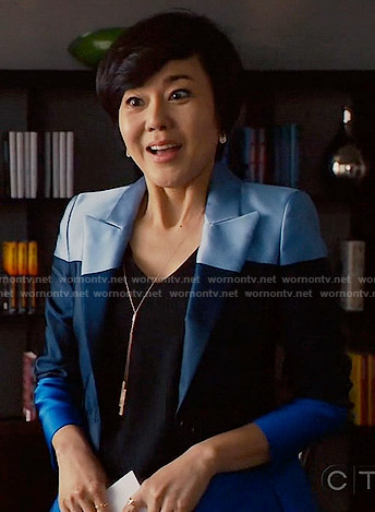 Karen's blue colorblock blazer on Mistresses
