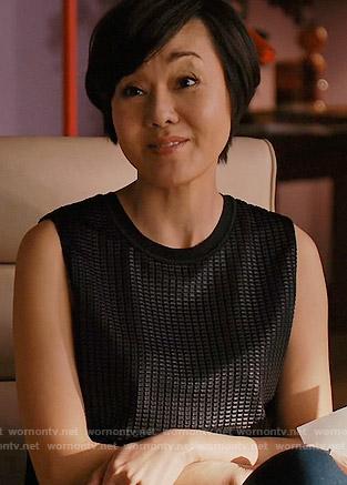 Karen's sleeveless textured leather top on Mistresses