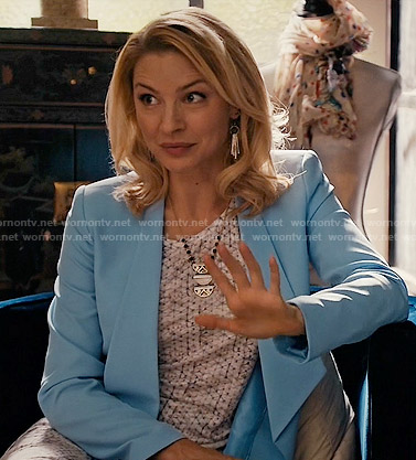 Kate's white printed tie front dress and blue blazer on Mistresses