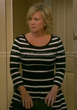 Kayla's black and white striped dress on Days of our Lives