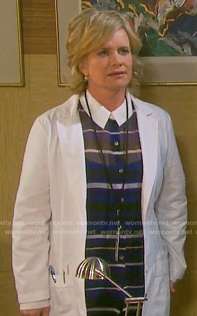 Kayla's blue striped blouse with white collar on Days of our Lives