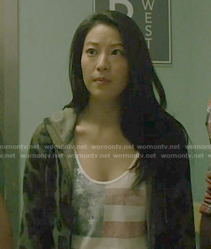Kira's USA flag top and leopard print hoodie on Teen Wolf