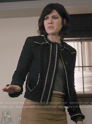 Laurel's black tweed jacket with white trim on BrainDead
