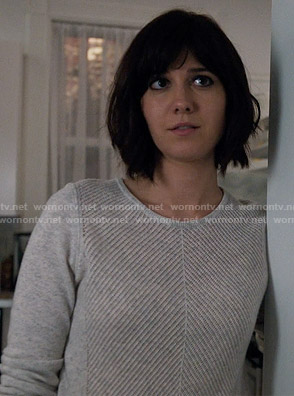 Laurel's grey chevron stitch sweater on BrainDead