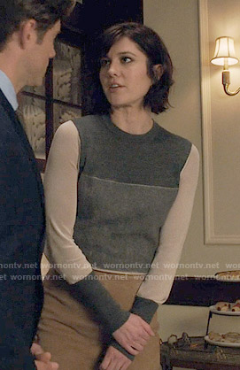 Laurel's grey colorblock sweater on BrainDead