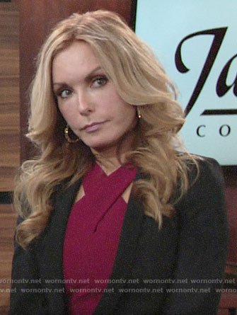 Lauren's burgundy cross neck dress on The Young and the Restless