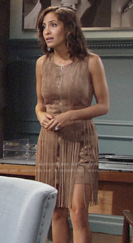 Lily's suede zip front fringed dress on The Young and the Restless
