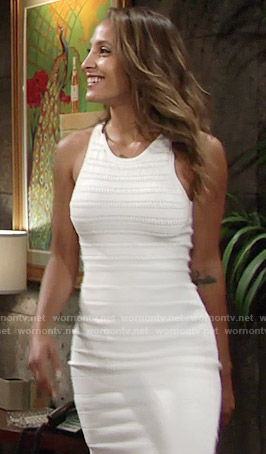 Lily's white striped stitch dress on The Young and the Restless
