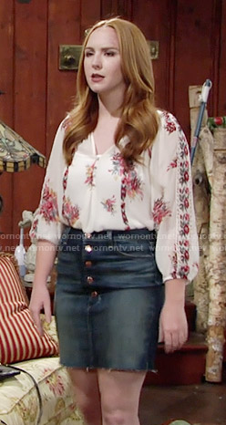 Mariah's white and red floral blouse and denim skirt on The Young and the Restless
