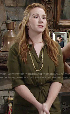 Mariah's green shirtdress on The Young and the Restless