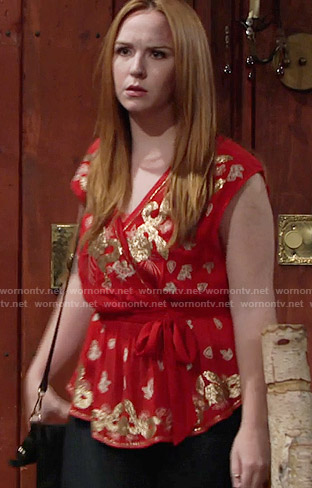 Mariah's red and gold wrap top on The Young and the Restless
