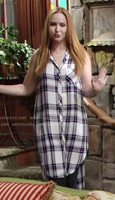 Mariah's sleeveless plaid tunic on The Young and the Restless