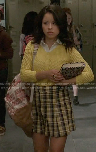 Mariana's yellow cardigan and plaid skirt on The Fosters