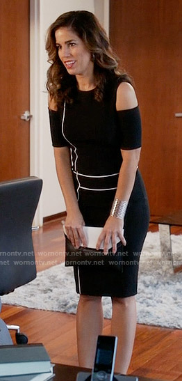Marisol's black cold shoulder dress with white piping on Devious Maids