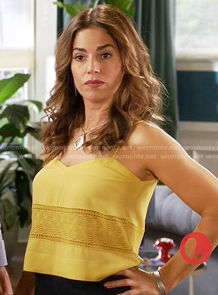 Marisol's yellow embroidered camisole top on Devious Maids