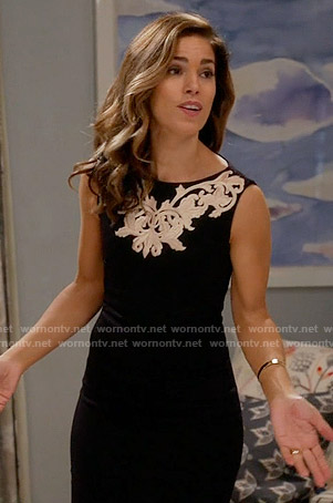 Marisol's black dress with white embroidery on Devious Maids