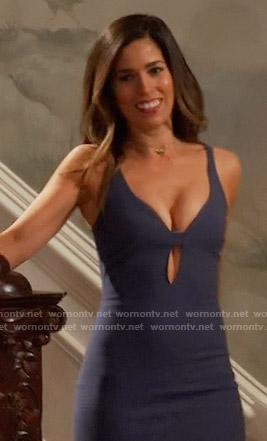 Marisol's blue front keyhole cutout dress on Devious Maids