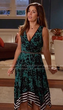 Marisol's green floral dress with striped hem on Devious Maids