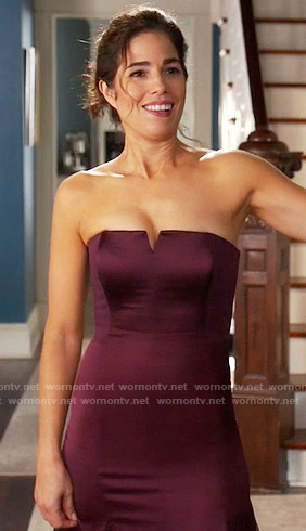 Marisol's purple strapless gown on Devious Maids