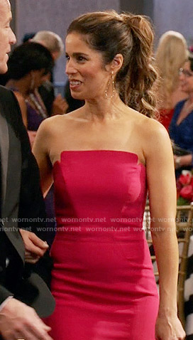 Marisol's red strapless gown on Devious Maids