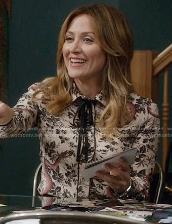 Maura's snake and floral print blouse on Rizzoli and Isles