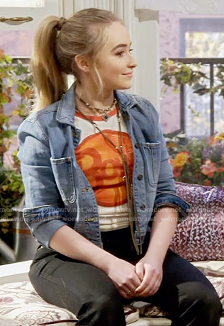 Maya's bowie t-shirt and denim jacket on Girl Meets World
