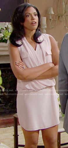 Maya's pink draped front dress on The Bold and the Beautiful
