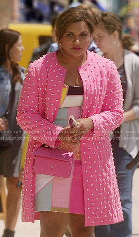 Mindy's patchwork dress and pink studded coat on The Mindy Project