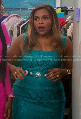 Mindy's turquoise lace dress on The Mindy Project