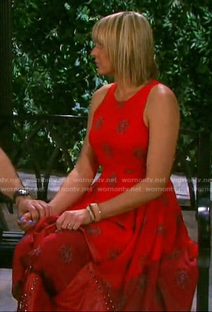 Nicole's red spotted print dress on Days of our Lives