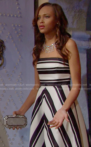 Nicole's black and white striped strapless gown on The Bold and the Beautiful