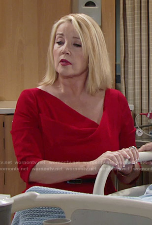 Nikki's red folded neck dress on The Young and the Restless