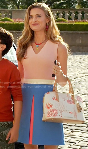 Paige's pink and blue colorblock dress and fish print bag on Royal Pains