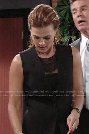 Phyllis's black lace dress with vest on The Young and the Restless