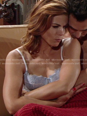 Phyllis's blue and white lace bra on The Young and the Restless