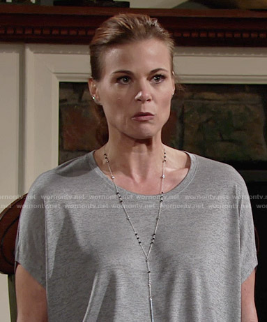 Phyllis's grey heathered t-shirt on The Young and the Restless